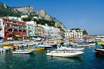 Harbor Of Isle Of Capri Art Print by Jon Berghoff
