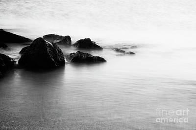 Harbor Rocks And Misty Ocean I Art Print by Charmian Vistaunet