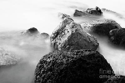 Harbor Rocks And Misty Ocean II Art Print by Charmian Vistaunet