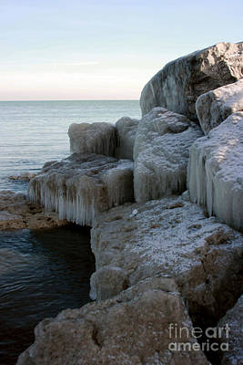 Photograph - Harbor Rocks In Ice by Kathy DesJardins