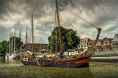 Photograph - Harbor Sail Boats On A Canal In Amsterdam by Randall Nyhof