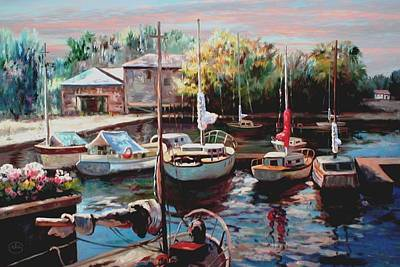 Harbor Sailboats At Rest Print by Ron Chambers