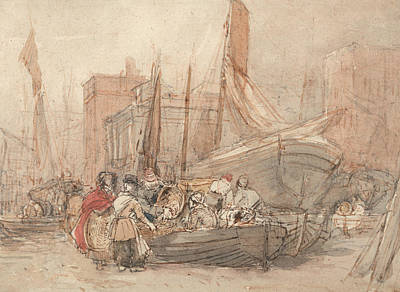 Painting - Harbor Scene, With Fishing Boats Being Unloaded by David Cox