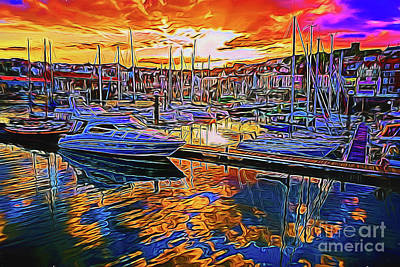 Photograph - Harbor Sunset 14318 by Ray Shrewsberry