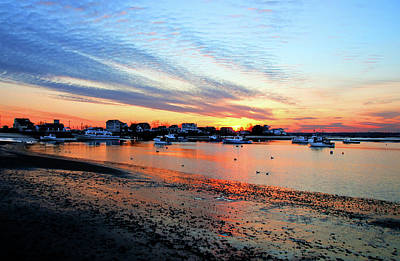 Harbor Sunset At Low Tide Art Print