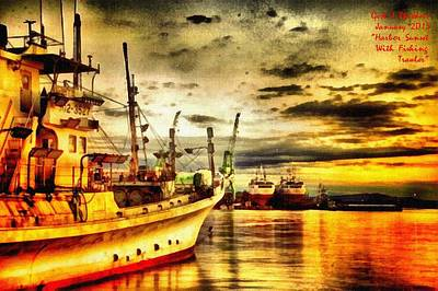 Harbor Sunset With Fishing Trawler L A Art Print