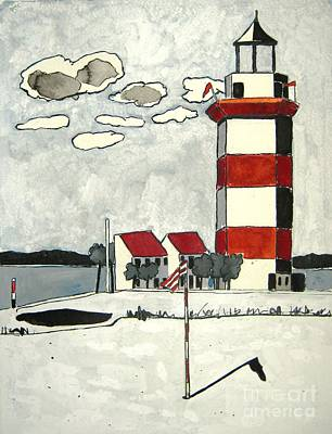 Head Harbour Lighthouse Painting - Harbour Town 2 Sc by Lesley Giles