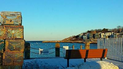 Harbor View In Winter Art Print by Harriet Harding