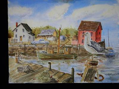 Newengland Painting - Harbor View by Jim Decker