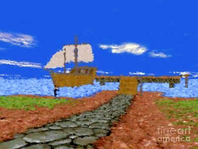 Harbor With Boat Art Print