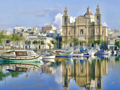 Waterscape Painting - Harborside Msida Malta by Dean Wittle