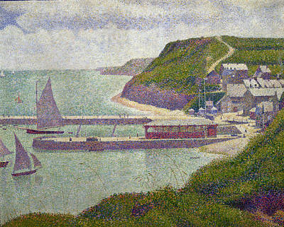 Pointillist Painting - Harbour At Port En Bessin At High Tide by Georges Pierre Seurat