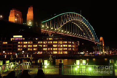 Photograph - Harbour Bridge Aqua Gold Vivid Sydney 2016 By Kaye Menner by Kaye Menner