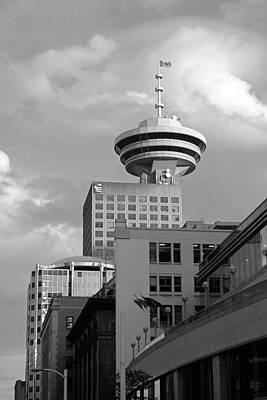Photograph - Harbour Centre Tower Vancouver B W by Connie Fox