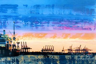 Hamburg Mixed Media - Harbour In The Evening by Nica Art Studio