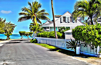 Bamboo Fence Digital Art - Harbour Island Street by Anthony C Chen