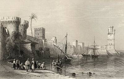 Harbour Of Rhodes, Greece. Engraved By Print by Vintage Design Pics