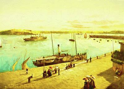 Digital Art - Harbour Parasols by Sarah Vernon