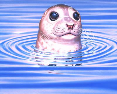 Digital Art - Harbour Seal by Patrick Turner