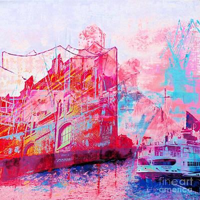 Port Town Mixed Media - Harbour Tones by Nica Art Studio