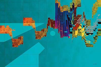Green Surreal Geometry Digital Art - Harbour by Van Renselar
