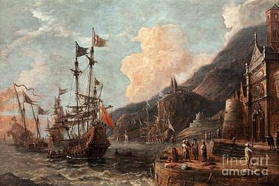 Quayside Painting - Harbour With Boats At Anchor by Celestial Images