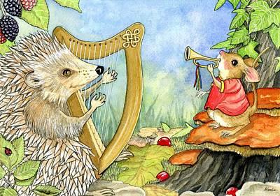 Harcourt Hedgehog And His Harp Art Print by Pamela Harden