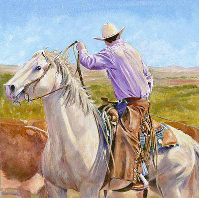 Roping Horse Painting - Hard And Fast by Don Dane