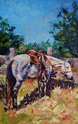 Cattle Roundup Painting - Hard Days Night by Susan Barri