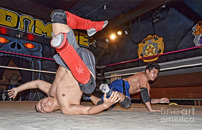 Photograph - Hard Falls During Pro Wrestling Training  by Jim Fitzpatrick