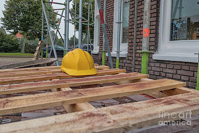 Photograph - Hard Hat On Building Site by Patricia Hofmeester
