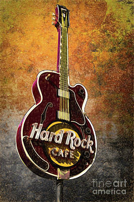 Nashville Tennessee Painting - Hard Rock Cafe - Sign - Guitar by L Wright
