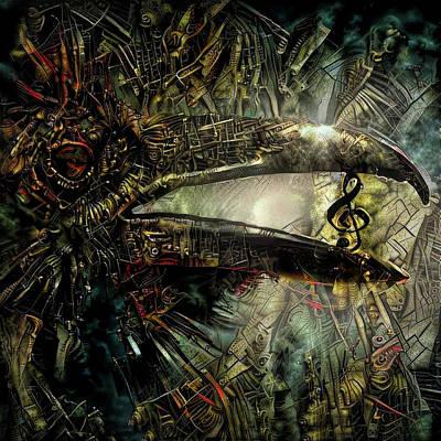 Steampunk Mixed Media - Hard Rock Crow by Lilia D