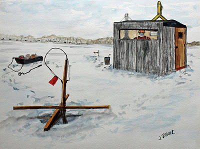 Painting - Hard Water Fishing by Jack G Brauer