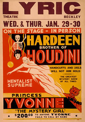 20th Mixed Media - Hardeen Brother Of Houdini by David Wagner