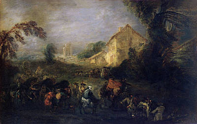 House Painting - Hardships Of War by Jean-Antoine Watteau