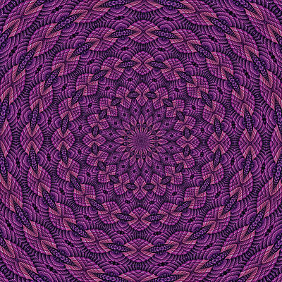 Kids Alphabet - Hardwood Mandala Tile- Violet Pink by Doug Morgan