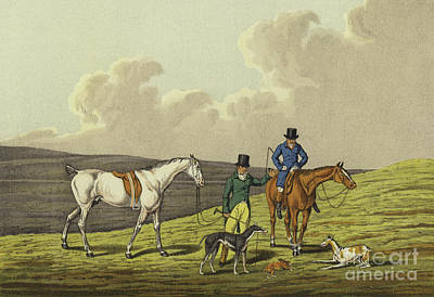 Horseman Drawing - Hare Coursing by Henry Thomas Alken