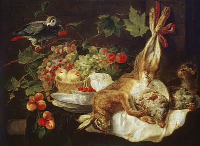 Painting - Hare, Fruit, And Parrot by Jan Fyt