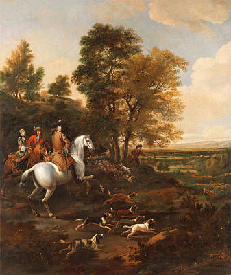 Wyck Painting - Hare Hunting by Jan Wyck