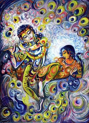 Painting - Hare Krishna - Flute by Harsh Malik