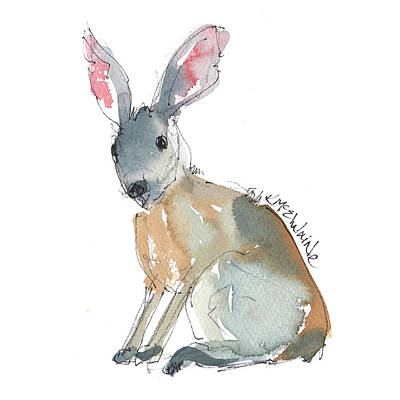 Painting - Hare Of A Different Color Rabbit Watercolor And Ink By Kmcelwaine by Kathleen McElwaine
