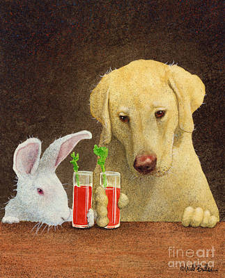 The Dog Painting - Hare Of The Dog...the Yellow Lab... by Will Bullas