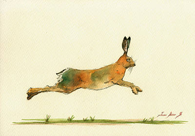 Hare Running Watercolor Painting Original by Juan  Bosco