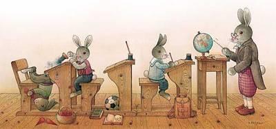 Painting - Hare School 01 by Kestutis Kasparavicius