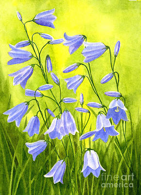 Blue Bells Painting - Harebells With Yellow And Green Background by Sharon Freeman