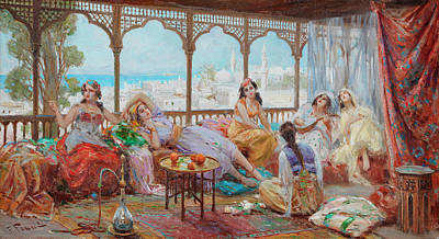 Sex Slaves Painting - Harem Girls Resting On A Terrace, The Coast Beyond by Fabio Fabbi
