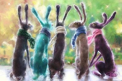 Hares With Scarves Art Print