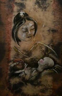 Ahimsa Painting - Hariti by Tilly's Silk Alchemy