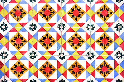 Photograph - Harlekin Lisbon Tiles Pattern Souvenirs by For Ninety One Days